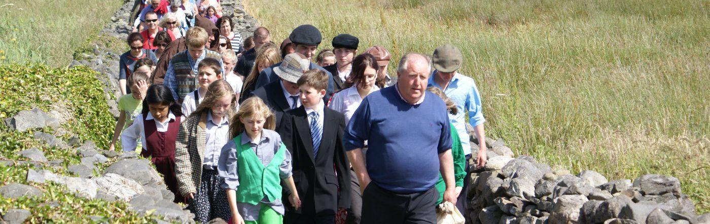 Finbar leads the people: Scattery Island Festival 2013
